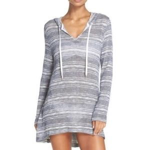 La Blanca Striped Cover Up Tunic Hoodie